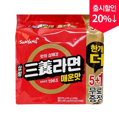 삼양 삼양라면 매운맛 120g x 5+1입